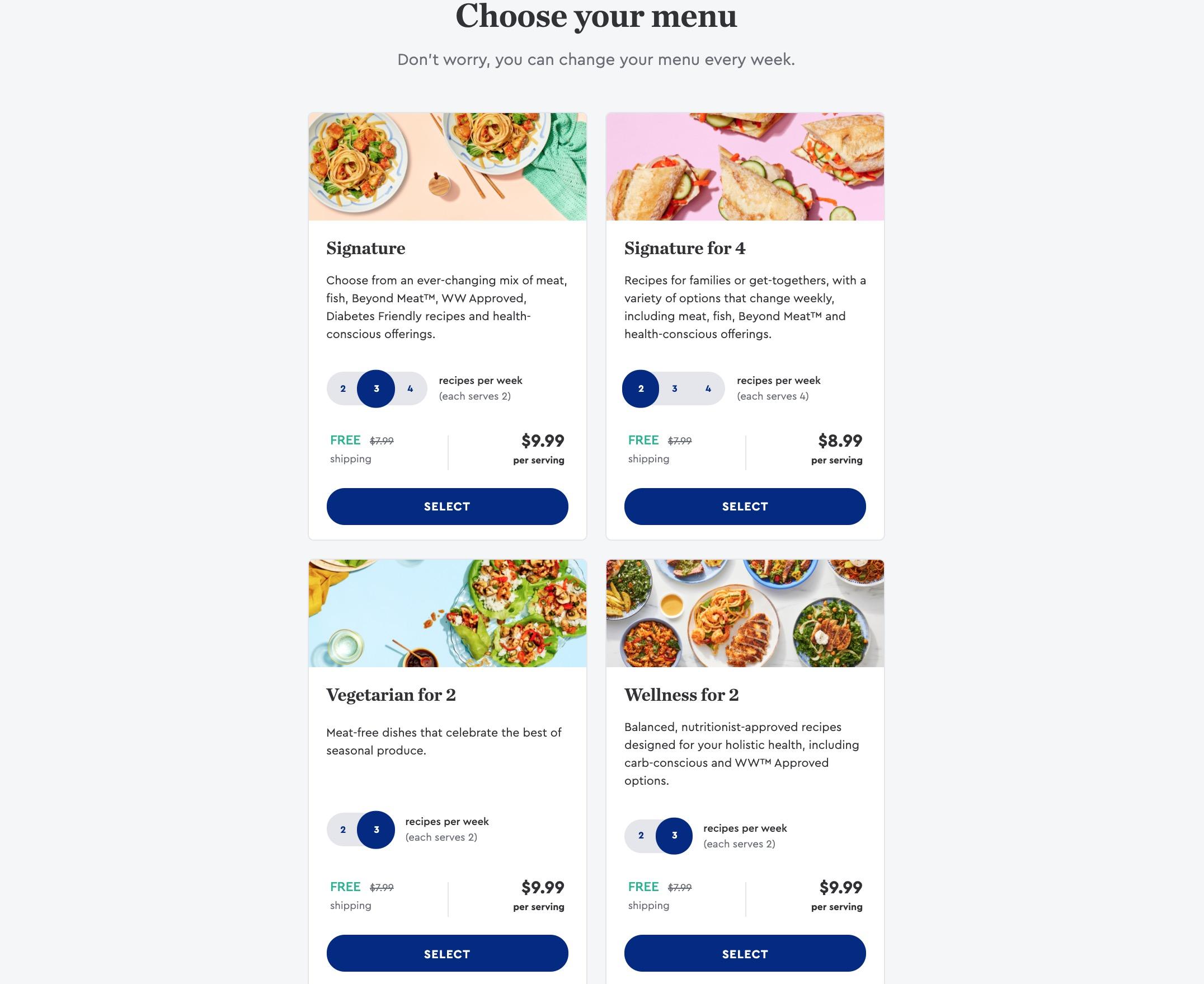 Blue Apron choose menu