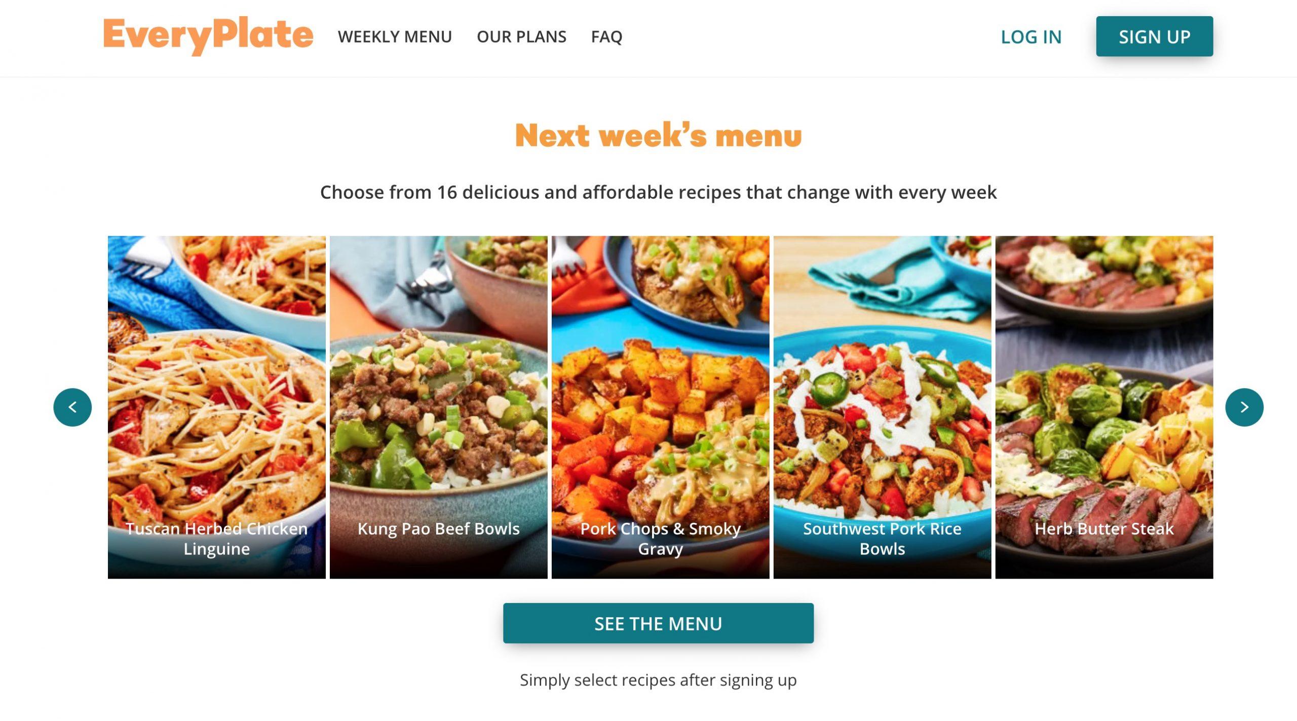 EveryPlate week menu