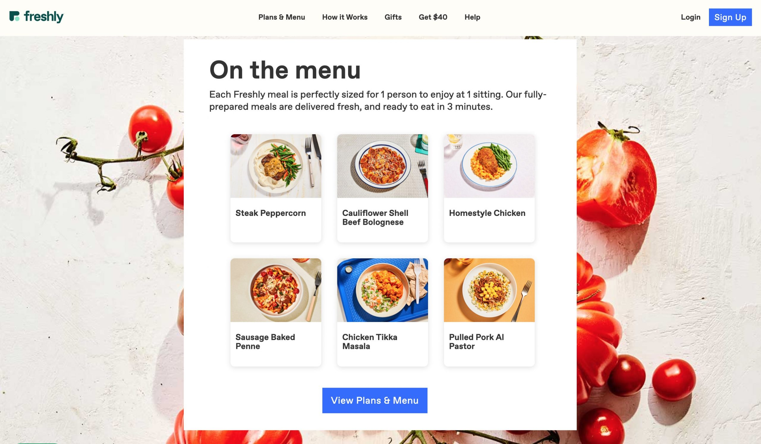 Freshly menu