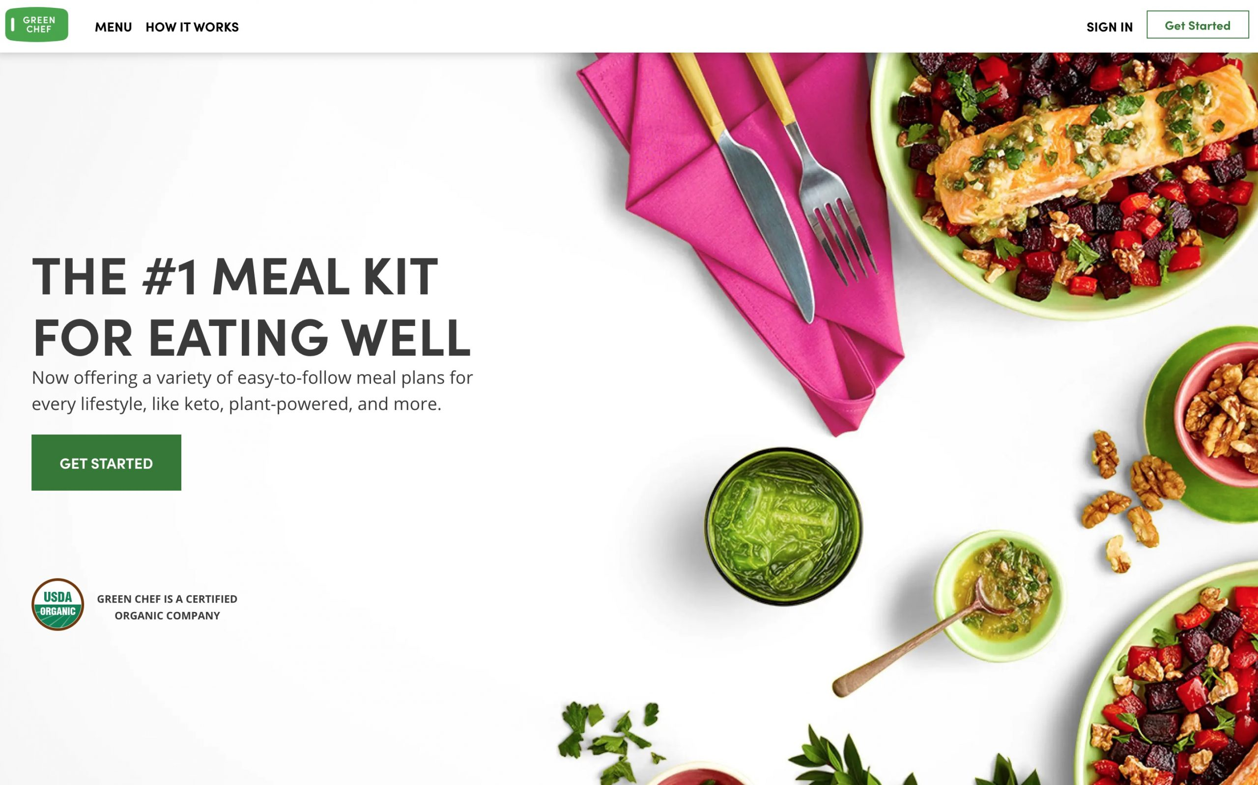 Green Chef home page