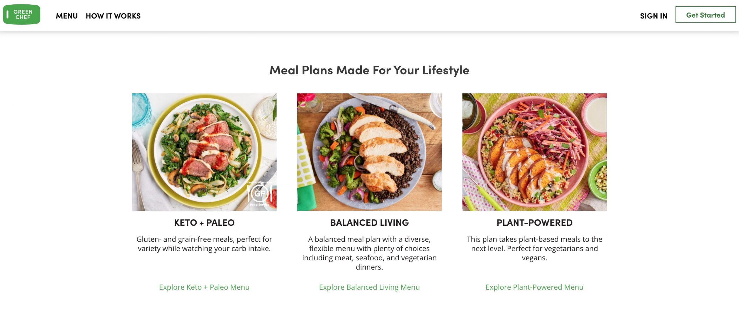 Green Chef meal plans