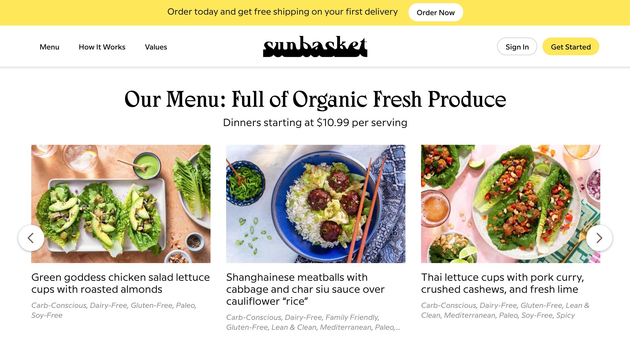 Sun Basket menu
