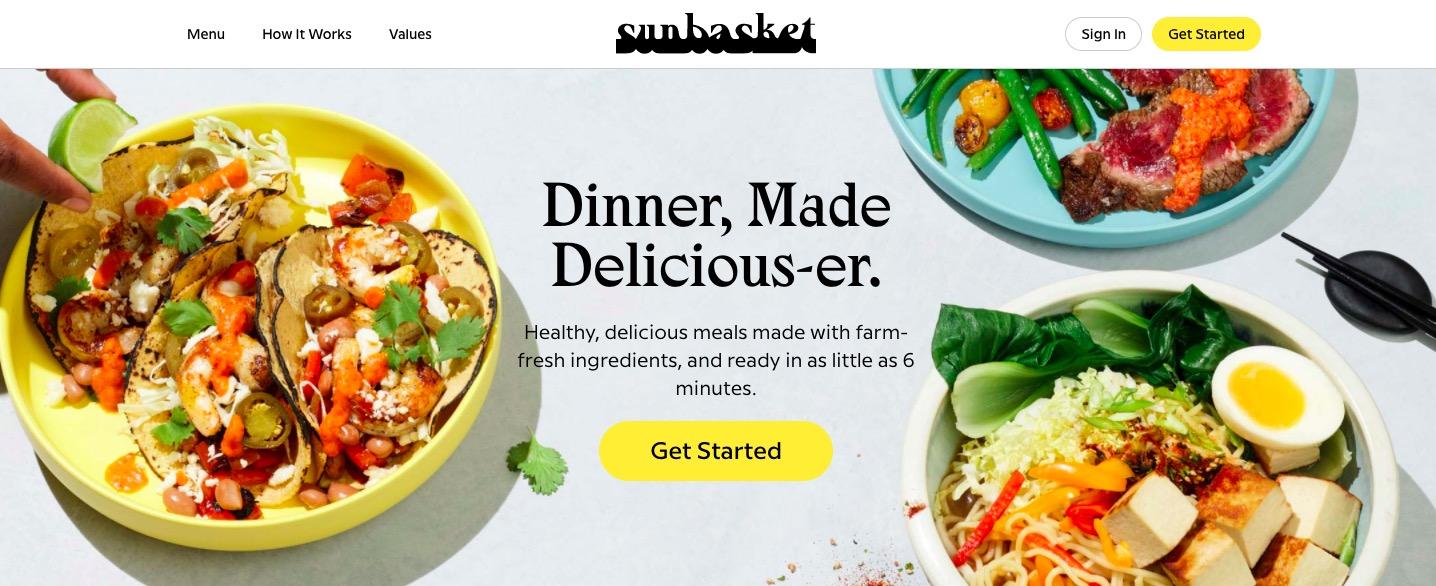 Sun Basket main page