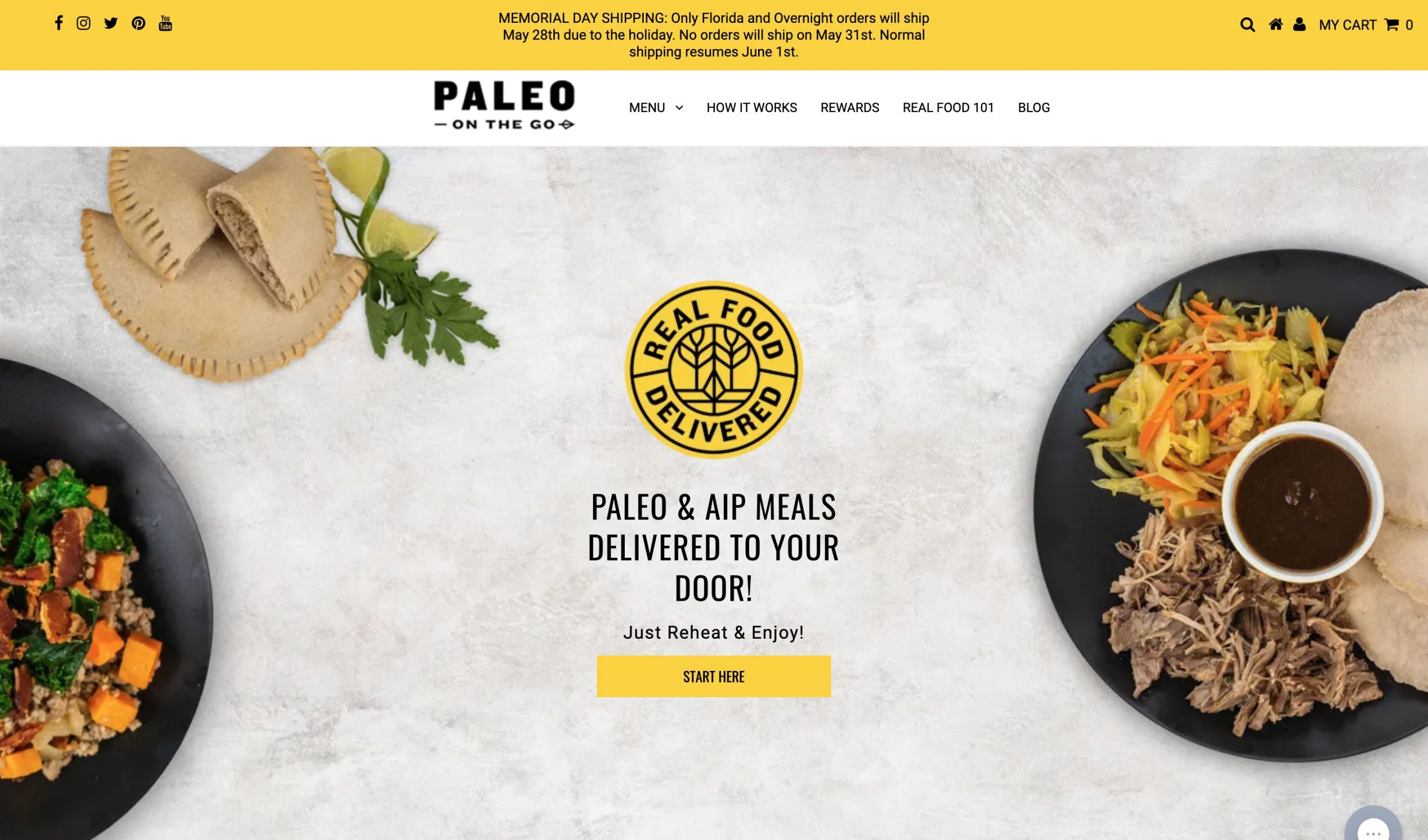 Paleo on the Go main page