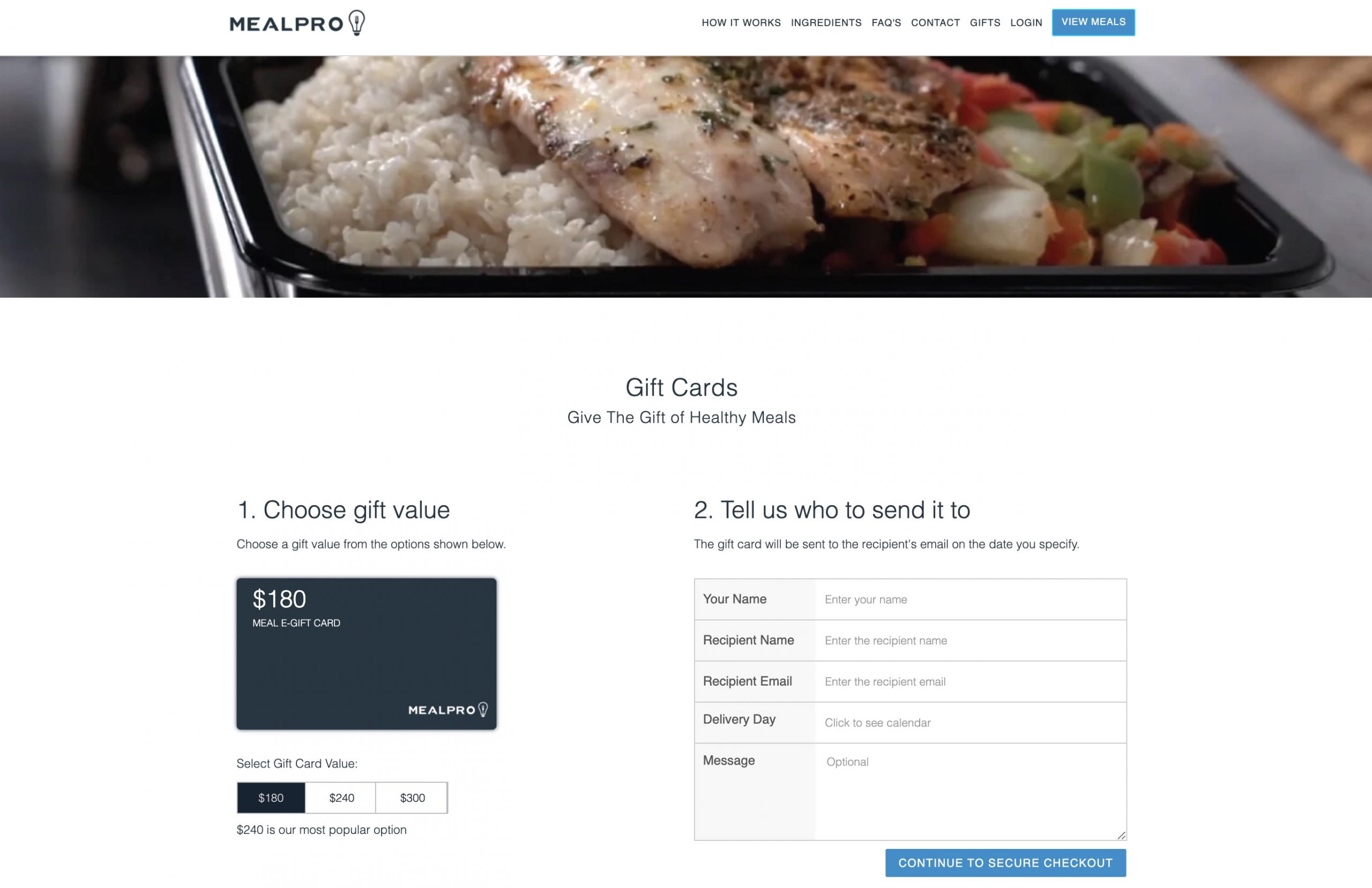 MealPro gift card