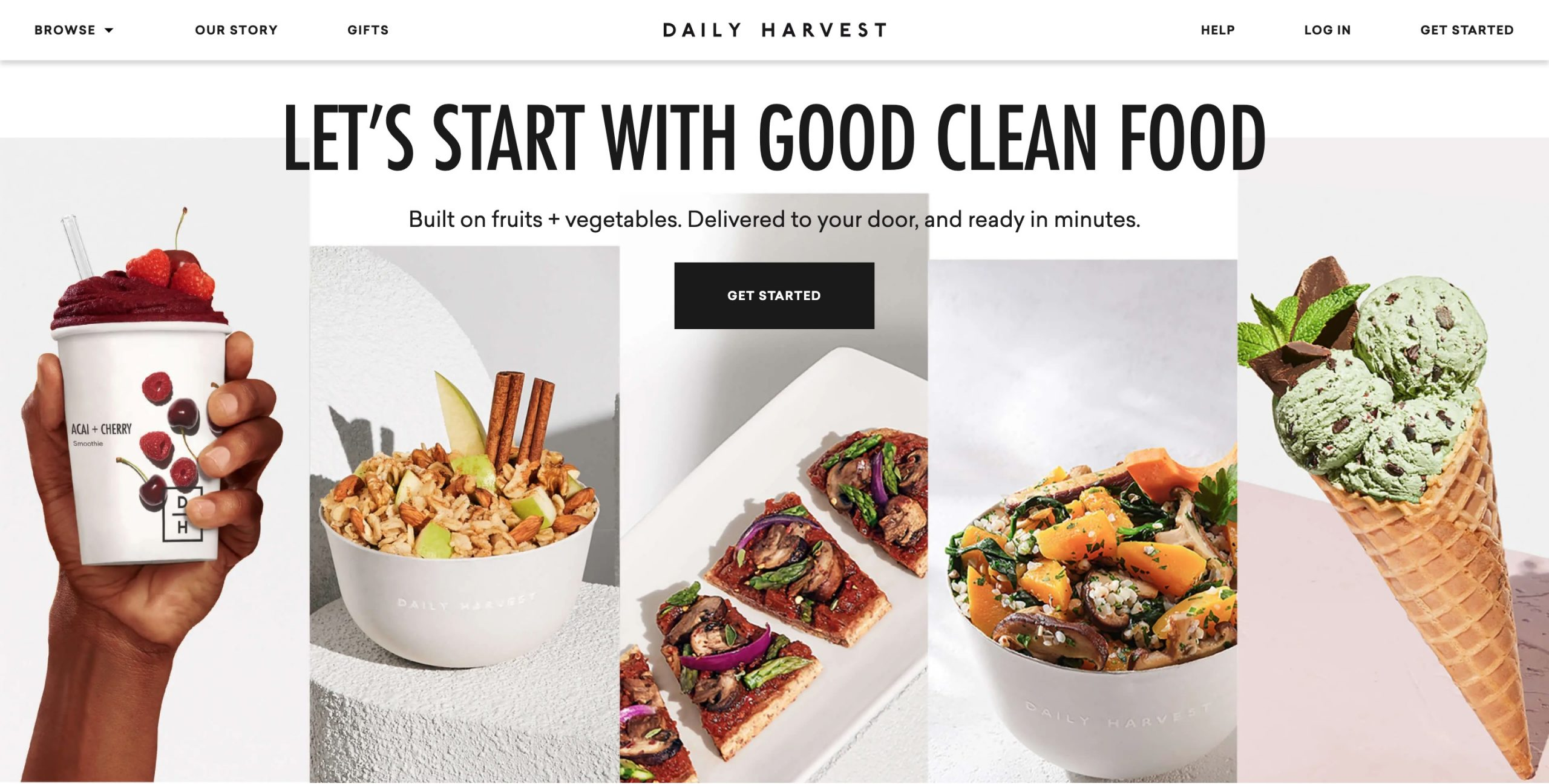 Daily Harvest main page