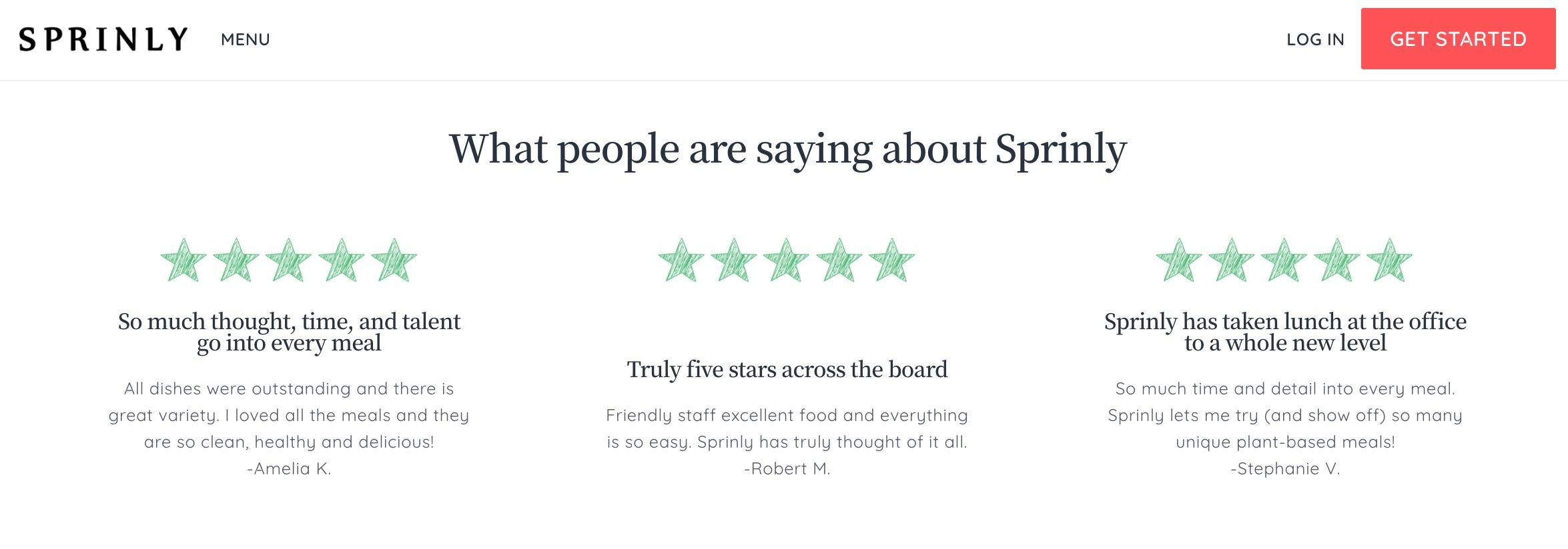 Sprinly testimonials
