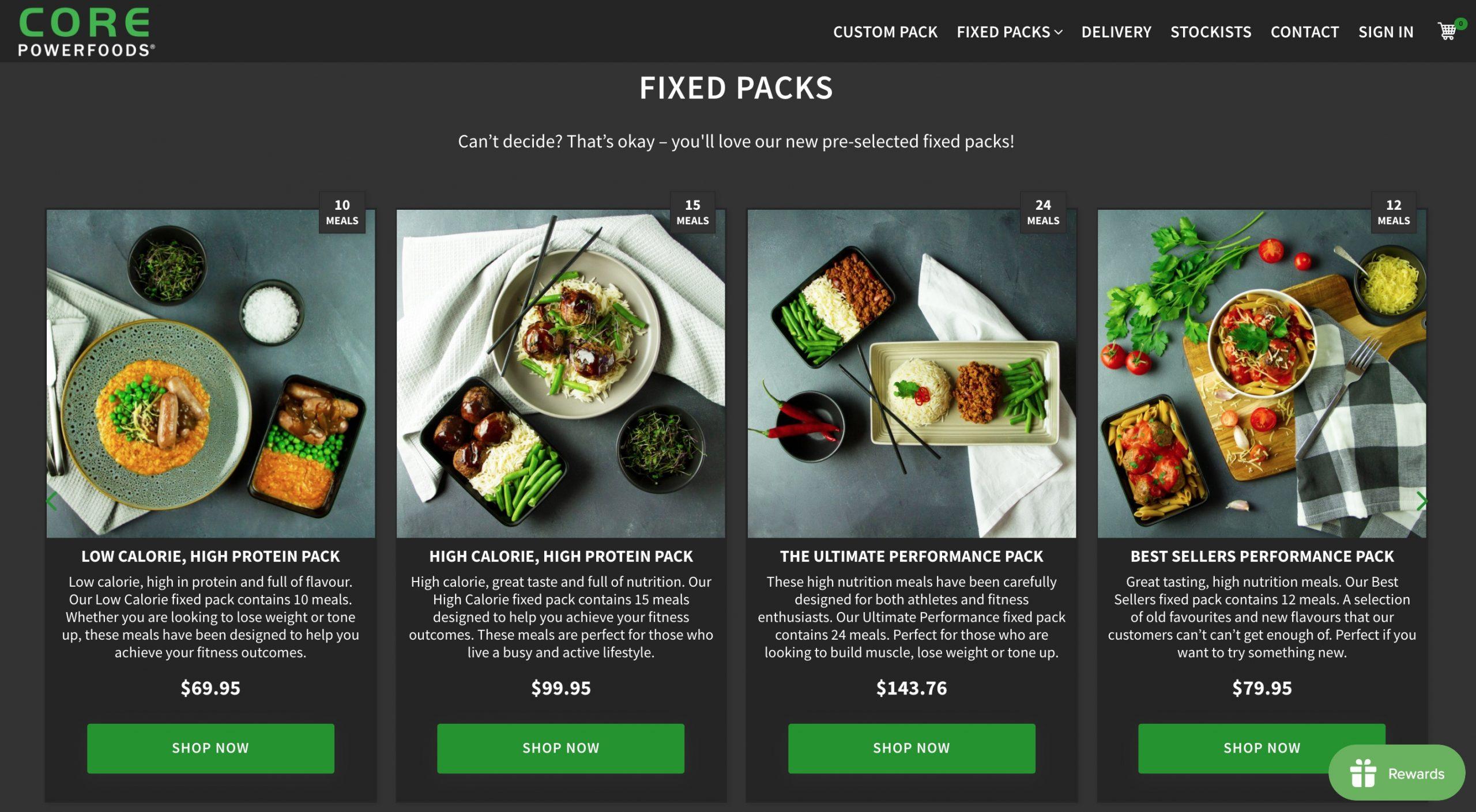 Core Power Foods menu